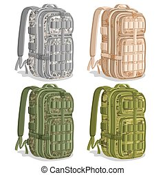 Vector set icons Military Camouflage Backpacks, gray Army...