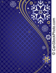 Dark blue christmas frame with wave and snowflakes and stars...