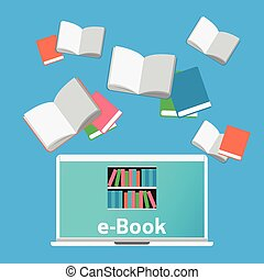 Concept e-Books world Library Laptop education and learning