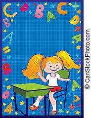 Girl in the school. - School childhood. Girl in the school....