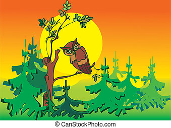 Owl in woods. Place for your text. Vector art-illustration.