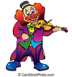 Clown. - Funny clown plays the violin. Vector...
