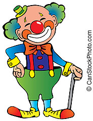 Clown. - Funny clown. Vector art-illustration on a white...