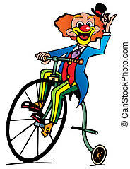 Funny clown rides a bicycle.