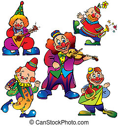 Clowns. - Funny clowns with musical instrument. Vector...