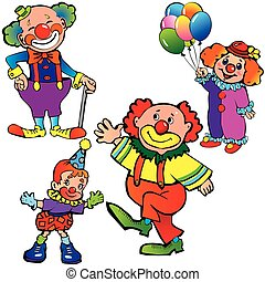 Clowns - Funny clowns on a white background Vector...