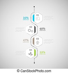 Abstract Infographic design on the grey background.