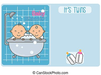 Bathing twins - baby shower. It´s twins. Bathing twins