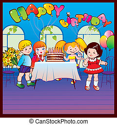 Happy birthday party. Good childhood. Place for your text....