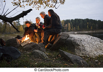 Young Friends Relaxing By Campfire On Lakeshore -...