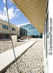Modern Hospital Building With Courtyard - Modern hospital...