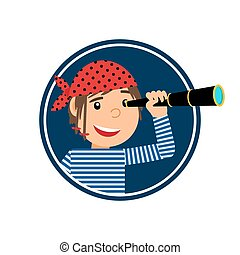 Pirate with spyglass icon in circle - Pirate with spyglass...