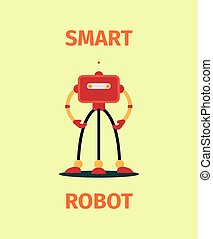 Smart red robot poster