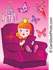 Princess - Princess sits on a chair Fairy-tale Vector...
