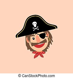 Pirate head vector icon