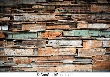 Art installation made from old benches at the University of...