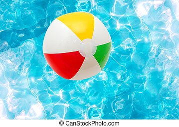 Ball - Beach ball over the water surface of a pool