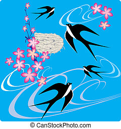 Swallows. - Swallows flying to sky. Vector art-illustration.
