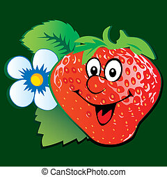 Strawberry. - Lively strawberry. Vector art-illustration on...