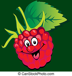 Raspberry - Lively raspberry Vector art-illustration on a...