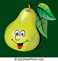 Pear. - Lively pear. Vector art-illustration on a green...