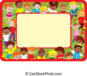 Kids frame Place for your text Happy childhood Vector...