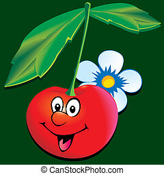 Cherry. - Lively cherry. Vector art-illustration on a green...