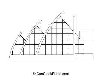 Vector Sketch Architecture Building Project. Amphitheater, Opera, Balet, Theater, Art Gallery, Gallery of Modern Art
