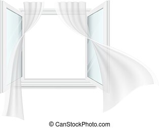 Open window and fluttering curtains. Vector detailed...