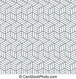 Seamless op art pattern. 3D illusion. Geometric texture....