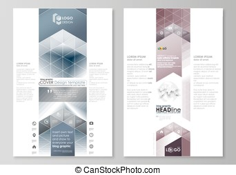Blog graphic business templates. Page website design template, easy editable vector layout. Simple monochrome geometric pattern. Abstract polygonal style, stylish modern background.