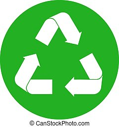 Recycle sign on white - green recycling sign in circle...