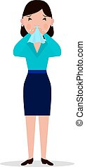Vector cartoon woman caught cold, sneeze, ill flu - Vector...