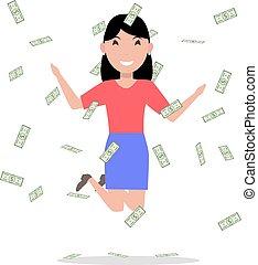 Vector cartoon woman jumping joy falling money