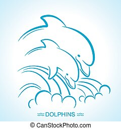 Two dolphins. Vector illustration of parent and baby underwater