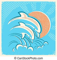 Two dolphins and sun.Vector retro illustration of parent and baby underwater