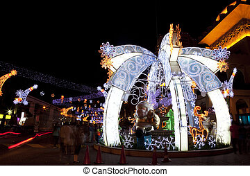 Christmas Street Decoration - Image of lighted Christmas...