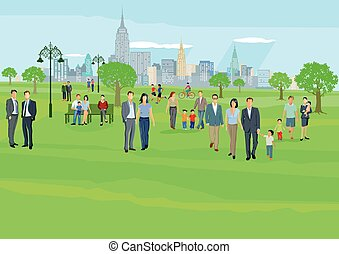 Stadt mit Park.eps - People at leisure in city park