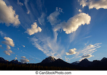 Evening clouds in the Rocky Mountains