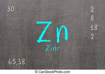 Isolated blackboard with periodic table, Zinc, Chemistry