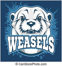 Weasel head on grunge background. Vector illustration.