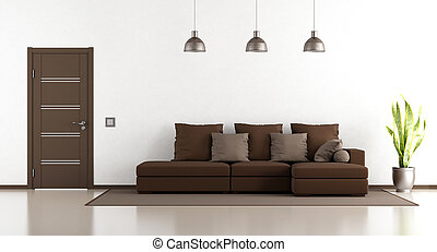 White and brown lounge