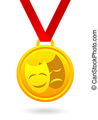 Golden medal with masks - Golden medal with theatrical masks...