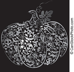 Halloween pumpkin. Vector art-illustration on a black...