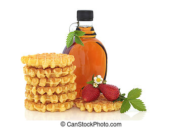 Strawberry Waffles and Maple Syrup - Waffle stack and maple...