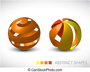 Abstract spheres made from colorful stripes