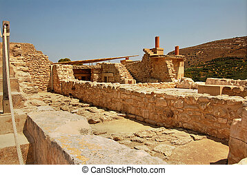 Ruins of Knossos Palace in Crete - palace ruins which are...