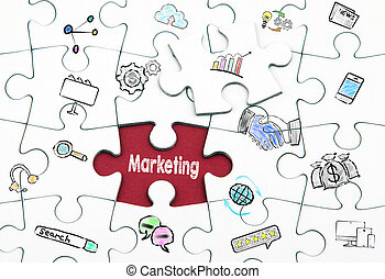 Marketing concept. Last piece of a Puzzle