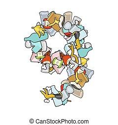 Number 9 Rubbish. Trash font nine sign. garbage alphabet symbol. Lettering litter