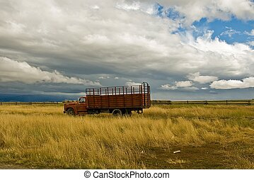 Farm Truck - An old farm truck sits in a meadow under a...